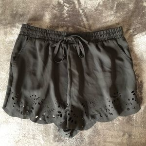 Brandy Melville Black Scalloped Detail Short